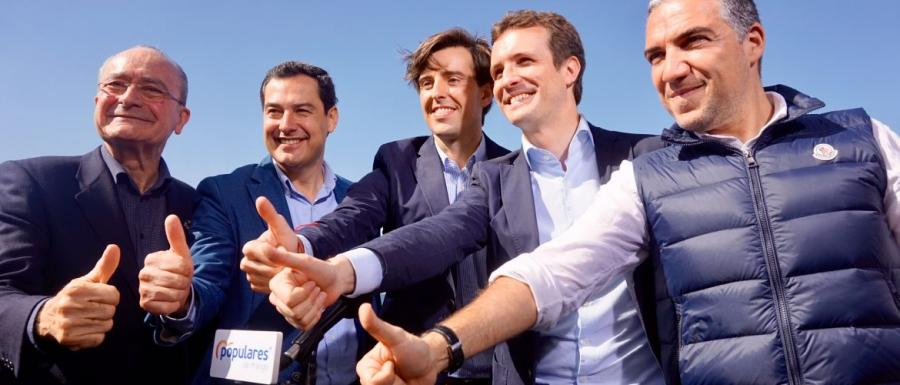 """Malaga Malaga Elías Bendodo, presidente del PP en Málaga en el mitin de los Baños del Carmen: """"Málaga nunca falla y por eso vamos a conseguir la victoria por el bien de España, de Andalucía y de nuestra tierra"""""""