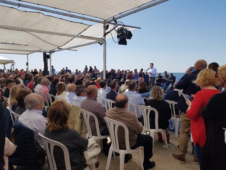 """Malaga Malaga Juanma Moreno, el presidente de la Junta en un mitin en Málaga: """"Necesitamos acompasar las reformas con un gobierno amigo y no hay mejor presidente para construir el porvenir que Pablo Casado"""""""