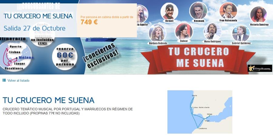 Fuengirola Fuengirola El Ayuntamiento de Fuengirola organiza un crucero temático con conciertos tributo a grandes artistas internacionales y visitas a Oporto, Lisboa, Casablanca y Tánger