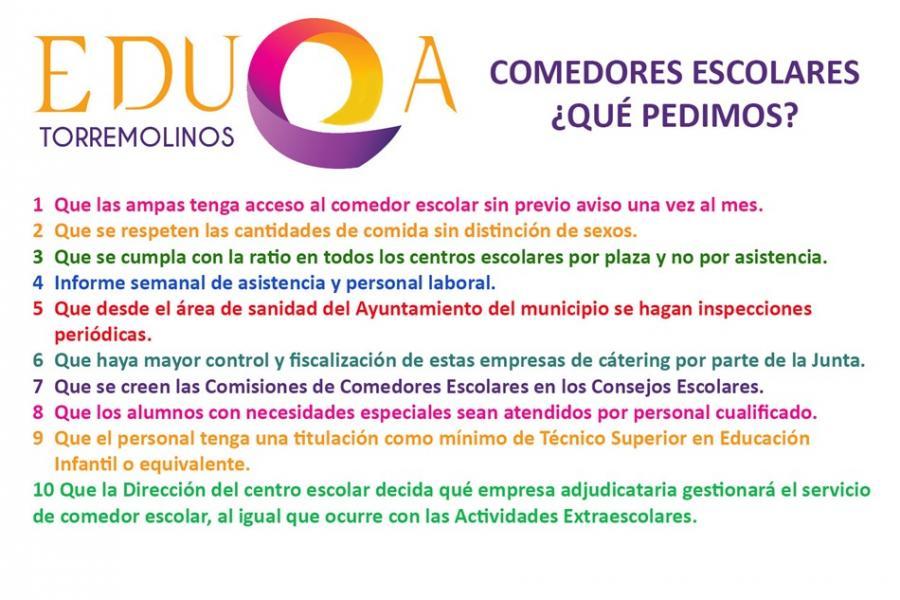 Torremolinos Torremolinos La Plataforma EduQa solicita mayor fiscalización en la gestión de los comedores escolares