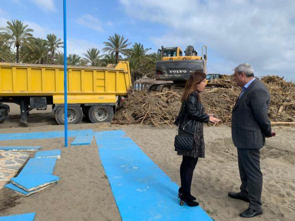 Torremolinos Torremolinos Torremolinos avanza en la retirada de las cañas de las playas tras el último temporal