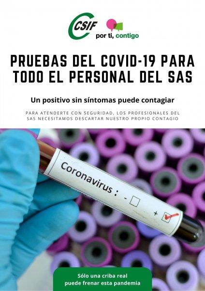 Actualidad Actualidad CSIF exige que se haga la prueba del Covid-19 a todos los profesionales del SAS