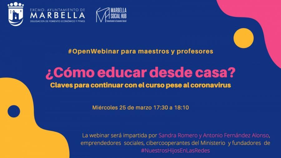 Marbella Marbella Fomento Económico de Marbella organiza mañana miércoles un taller práctico online dirigido a profesores para educar desde casa