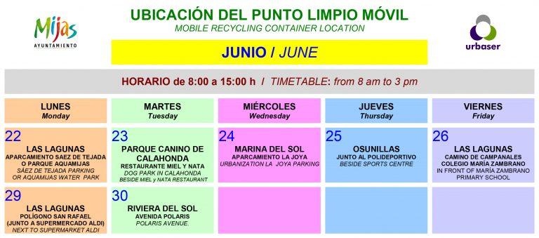 Mijas Mijas El Punto Limpio Móvil de Mijas retoma su actividad este lunes 22 de junio