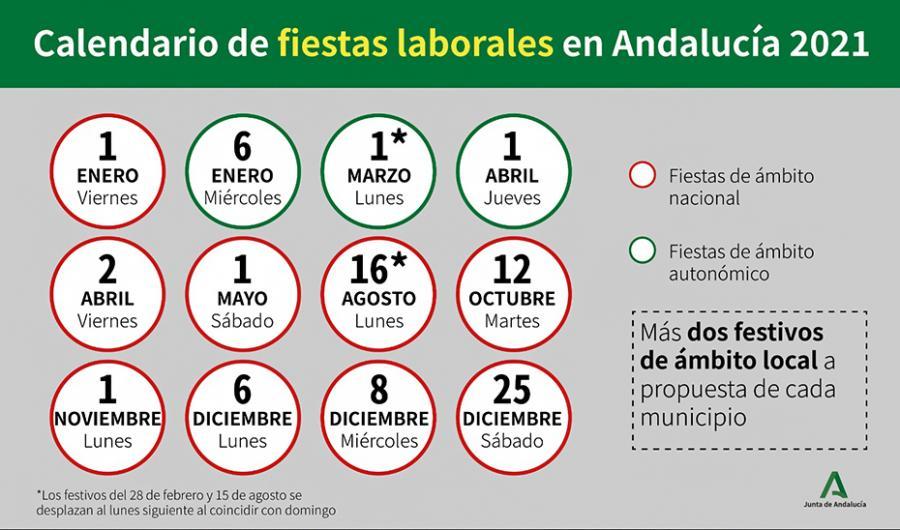 Actualidad Actualidad El Consejo de Gobierno aprueba el calendario de fiestas laborales en Andalucía para 2021