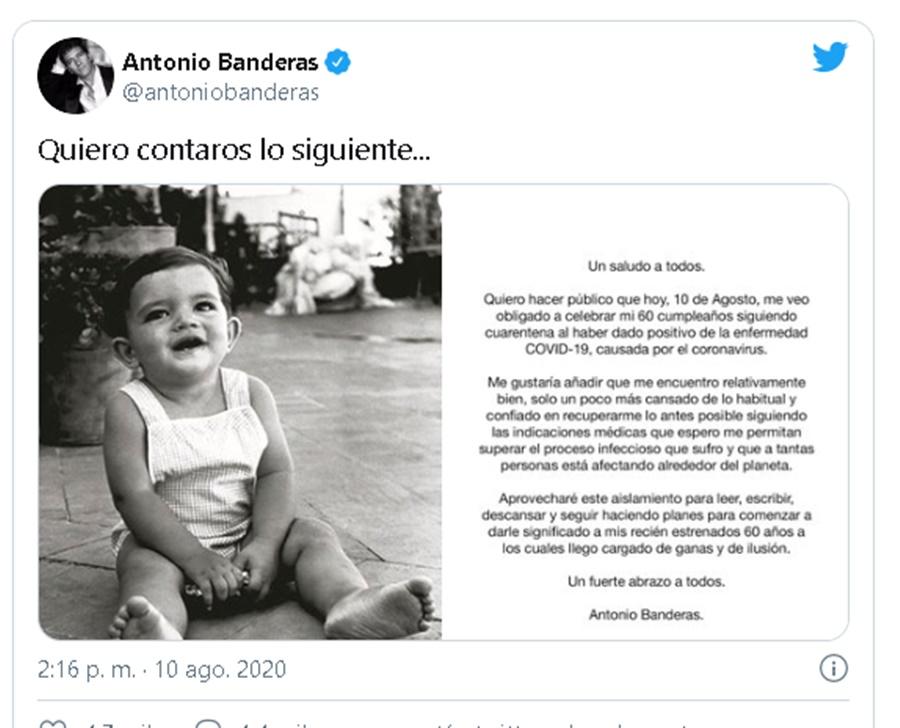 Malaga Malaga Antonio Banderas anuncia en redes en el día de su 60 cumpleaños que ha dado positivo por Covid-19 y está en cuarentena
