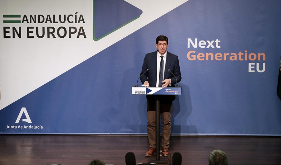 """Actualidad Actualidad Marín presenta el órgano gestor de los fondos europeos, """"vitales para el futuro de Andalucía"""""""