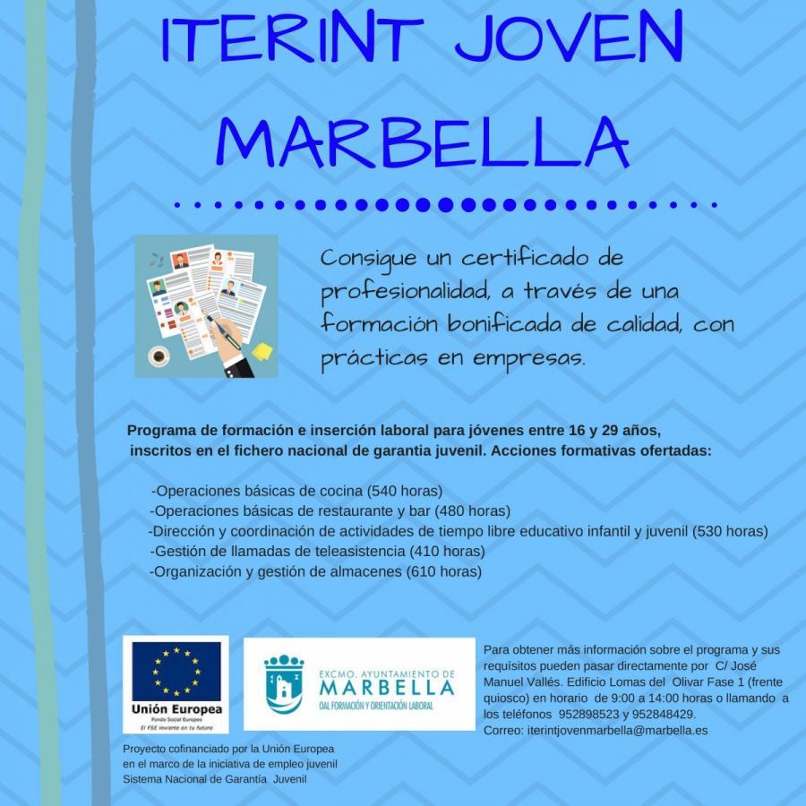 Marbella Marbella El Ayuntamiento de Marbella abre el periodo para la recogida de solicitudes del programa Iterint Joven