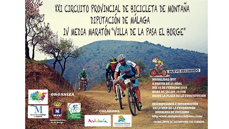 Actualidad Actualidad La IV Media Maratón BTT Villa de La Pasa El Borge se celebrará mañana domingo 10 de febrero, la tercera cita puntuable del XXI Circuito Provincial BTT Diputación de Málaga