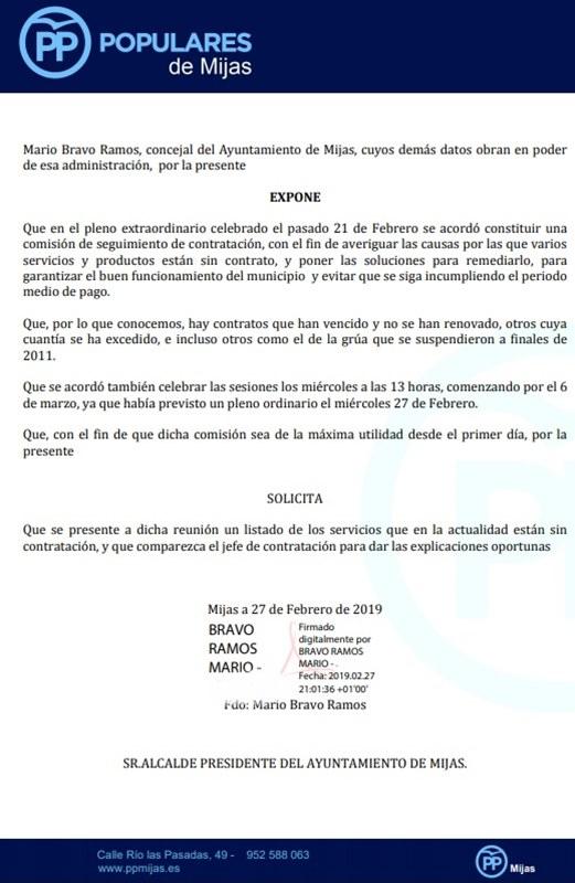 Mijas Mijas El PP de Mijas pregunta por qué Maldonado no ha convocado ya la Comisión de Seguimiento de Contratación acordada el 21 de febrero