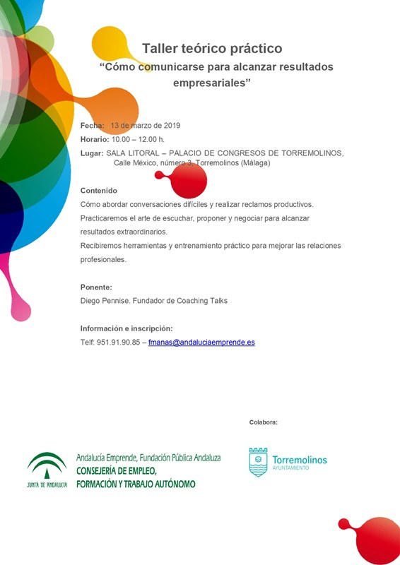 Torremolinos Torremolinos El CADE de Torremolinos convoca un taller teórico-práctico de coach comunicativo dirigido a empresarios y emprendedores