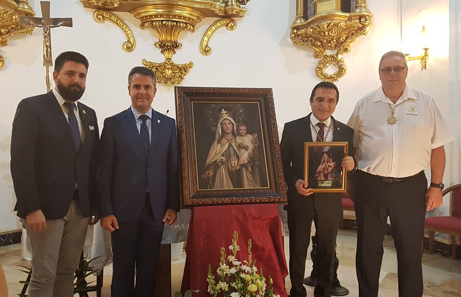 Malaga Malaga Brillante presentación del pintor Antonio Montiel, autor del Cuadro de Festividad 2019 de la Hermandad de la Virgen del Carmen de El Palo