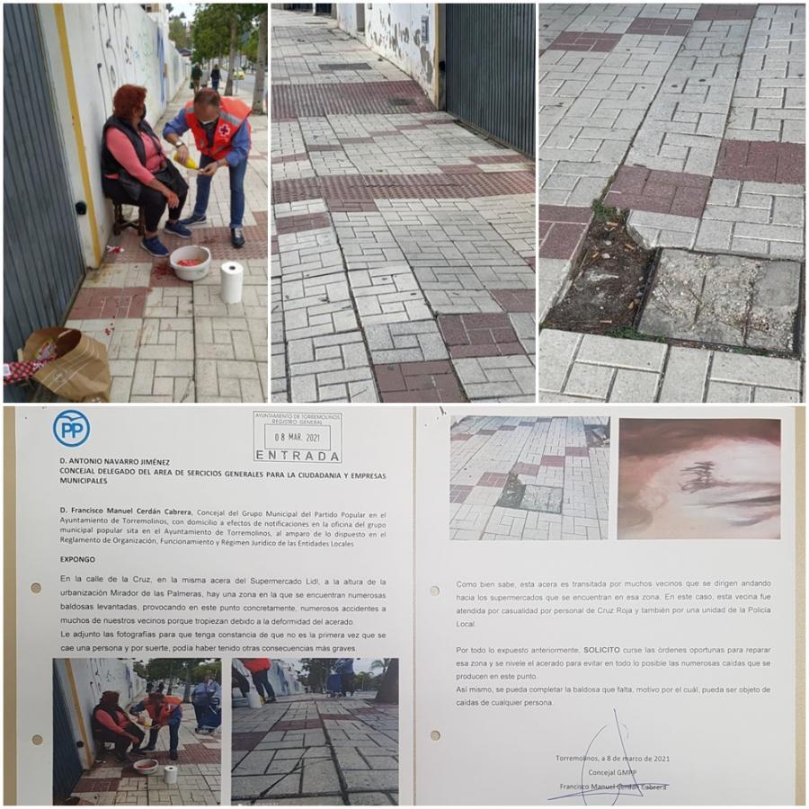 Torremolinos Torremolinos Atención: Peligro de caída en la calle Cruz de Torremolinos